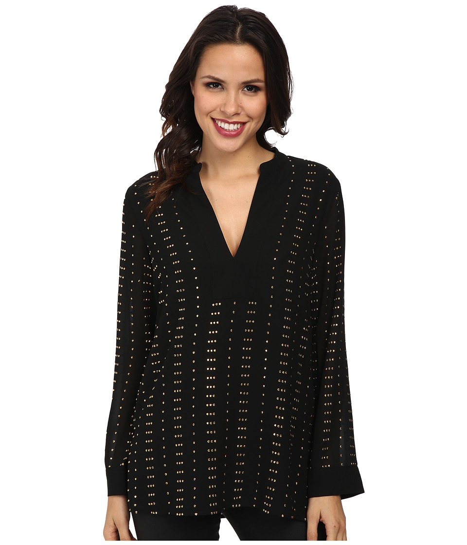 MICHAEL Michael Kors - Studded V Tunic (Black) Women's Blouse