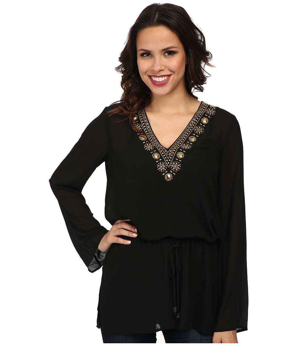 MICHAEL Michael Kors - Embellished Top/Draw String (Black) Women's Blouse