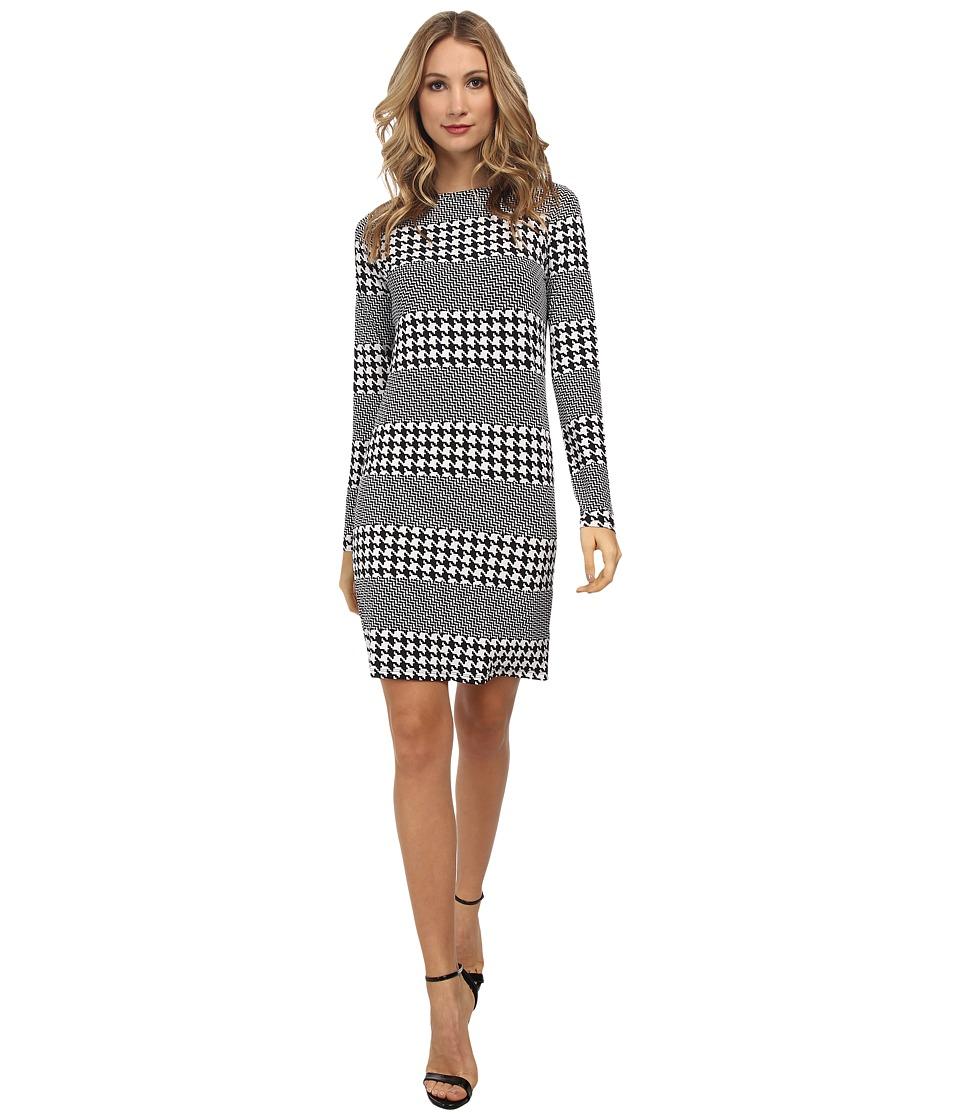 MICHAEL Michael Kors - Long Sleeve Boatneck Aqua Stripe Dress (New Navy) Women's Dress
