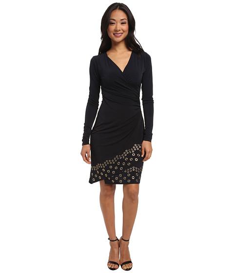 MICHAEL Michael Kors - Long Sleeve Grommet Hem Wrap Dress (New Navy) Women