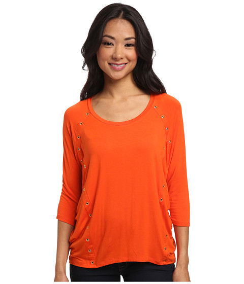 MICHAEL Michael Kors - Grommet 3/4 Sleeve Elliptical Hem (Mandarin) Women's Clothing