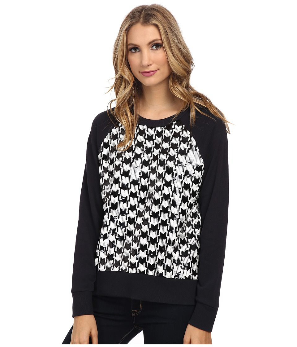 MICHAEL Michael Kors - Dogtooth Sequin Long Sleeve Terry Top (New Navy) Women's Clothing