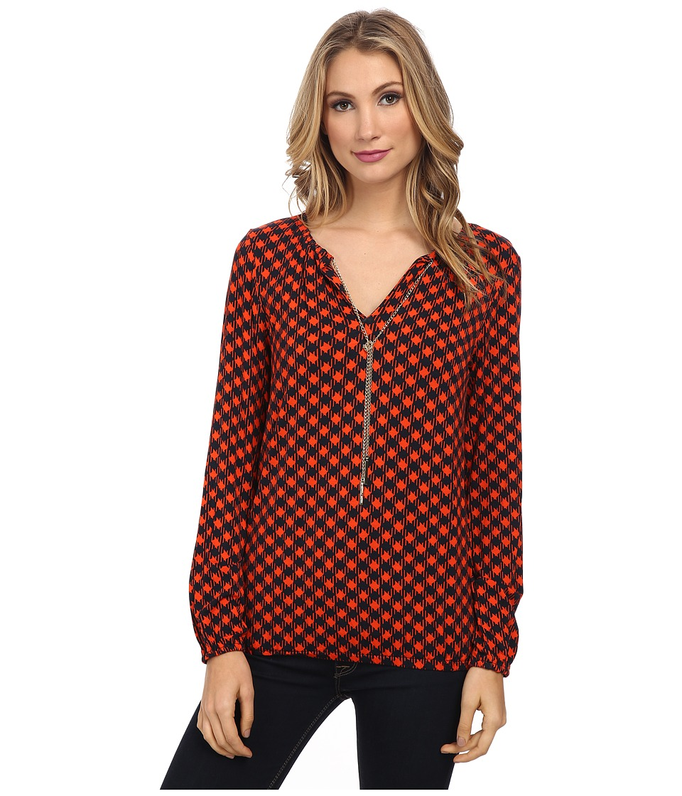 MICHAEL Michael Kors - Long Sleeve Dogtooth Chain Peasant Top (Mandarin) Women's Clothing