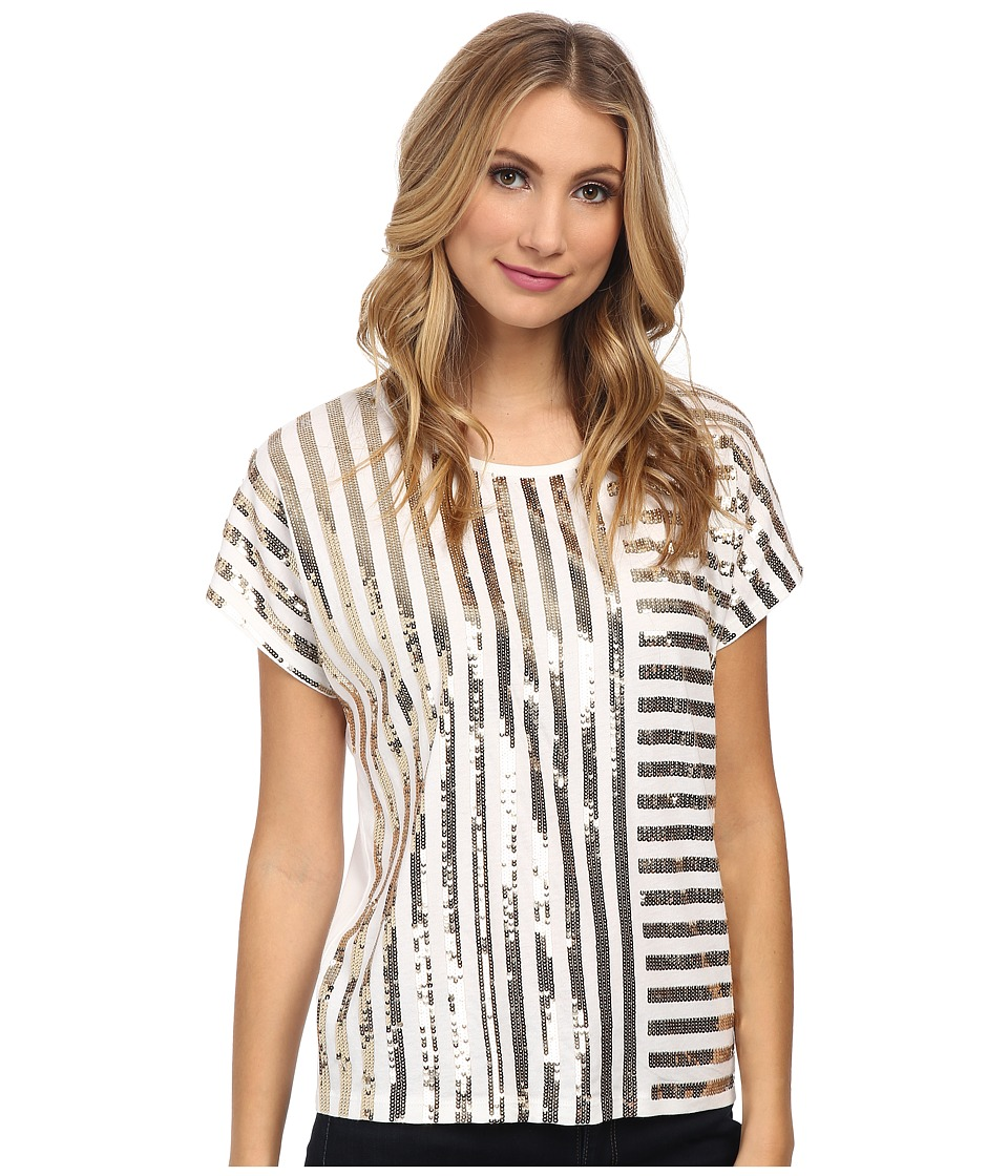 MICHAEL Michael Kors - Stripe Mix Sequin Top (White/Gold) Women's Clothing
