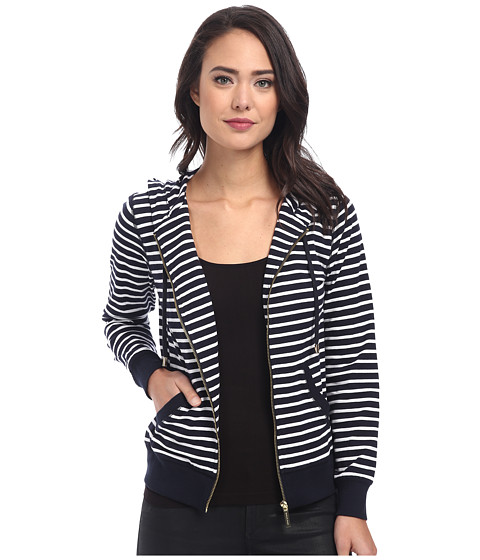 MICHAEL Michael Kors - Stripe Hoodie (New Navy/White) Women's Sweatshirt