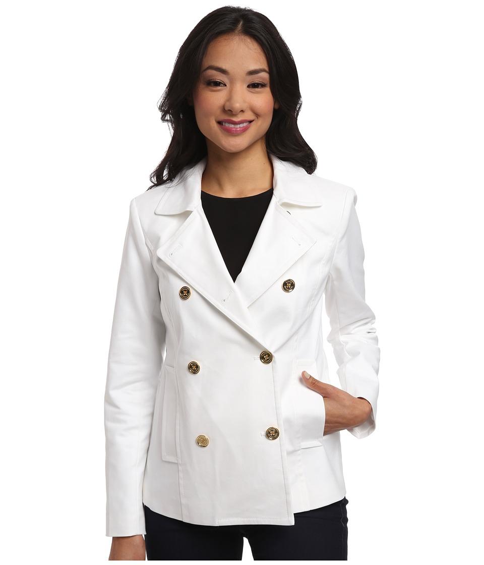 MICHAEL Michael Kors - Double Weave Mod Peacoat (White) Women's Coat