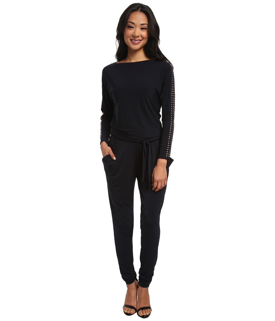 MICHAEL Michael Kors - Long Sleeve Studded Boatneck Jumpsuit (New Navy) Women's Jumpsuit & Rompers One Piece