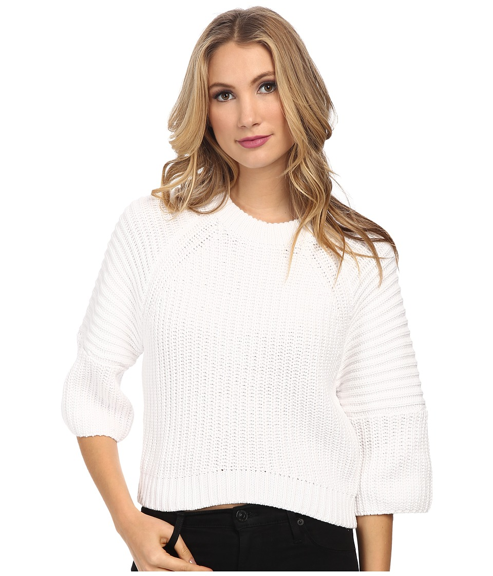 MICHAEL Michael Kors - Crop Crew Neck Shaker Sweater (White) Women