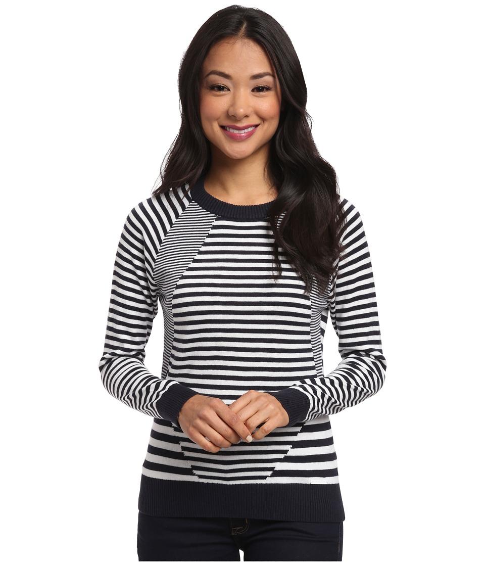 MICHAEL Michael Kors - Long Sleeve Stripe Mix Crew Neck (New Navy) Women