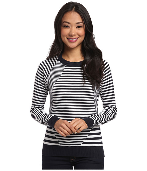 MICHAEL Michael Kors - Long Sleeve Stripe Mix Crew Neck (New Navy) Women's Sweater