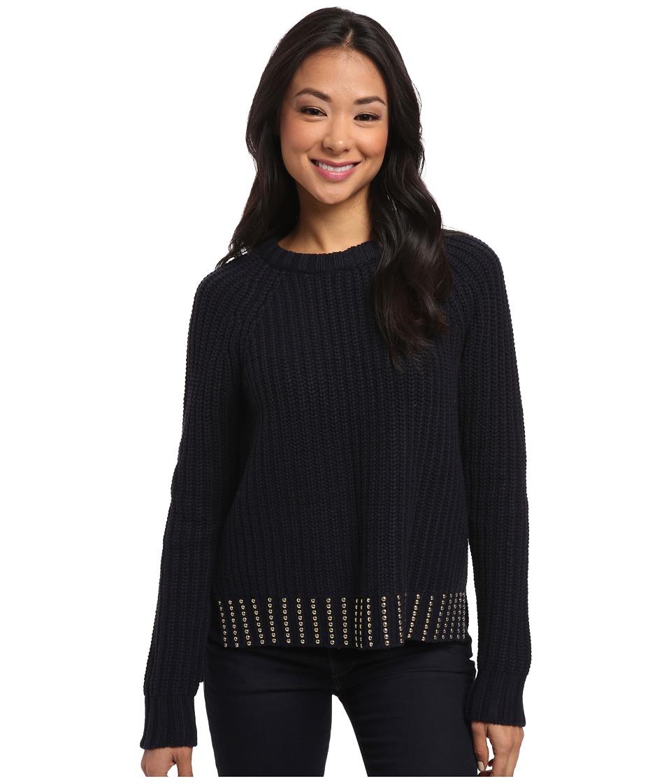 MICHAEL Michael Kors - Bead Hem Long Sleeve Crew Sweater (New Navy) Women's Long Sleeve Pullover