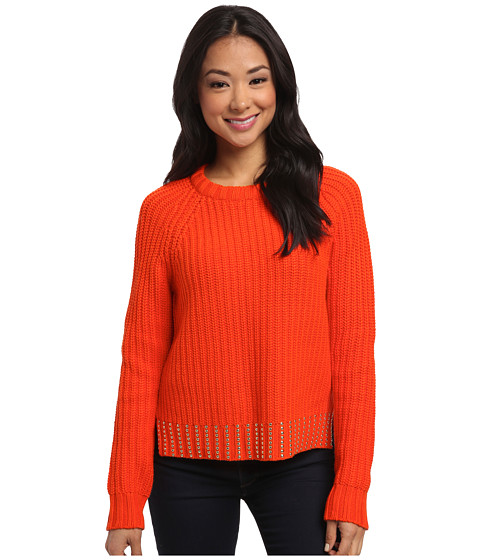 MICHAEL Michael Kors - Bead Hem Long Sleeve Crew Sweater (Mandarin) Women's Long Sleeve Pullover