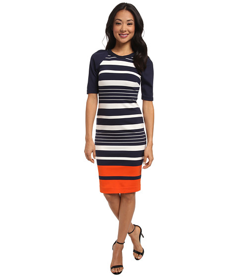 MICHAEL Michael Kors - Helsinki Stripe Raglan Dress (New Navy/Mandarin) Women's Dress
