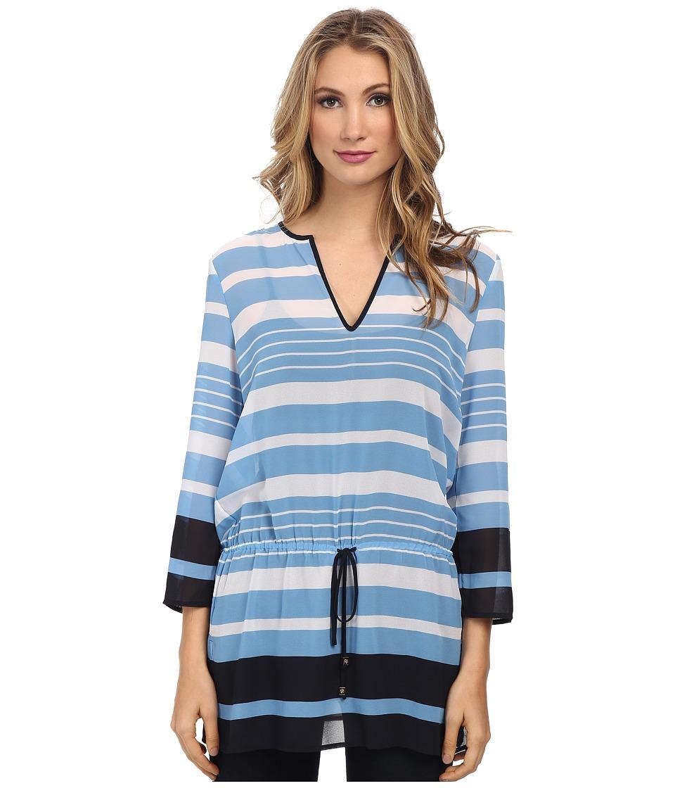 MICHAEL Michael Kors - Helsinki V-Neck Top/Drawstring (Heritage Blue) Women's Clothing