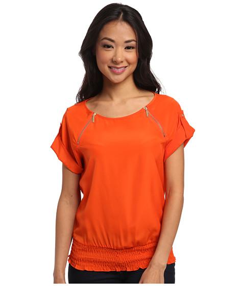 MICHAEL Michael Kors - Short Sleeve Raglan Zip Top (Mandarin) Women's Short Sleeve Pullover