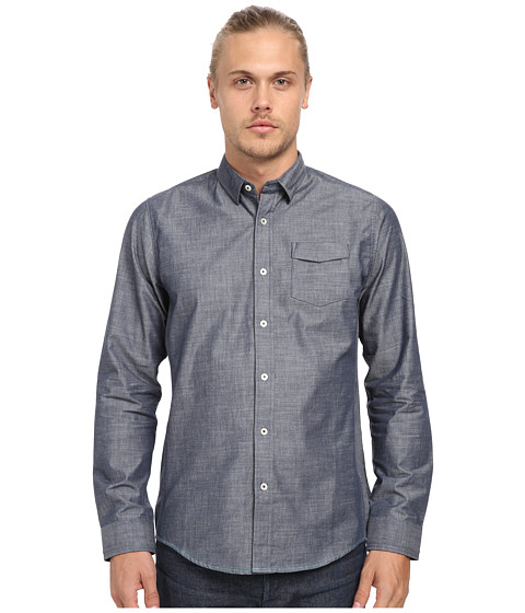 Descendant Of Thieves - Irregular Hi-Low Slub Shirt (Deep Indigo) Men's Long Sleeve Button Up