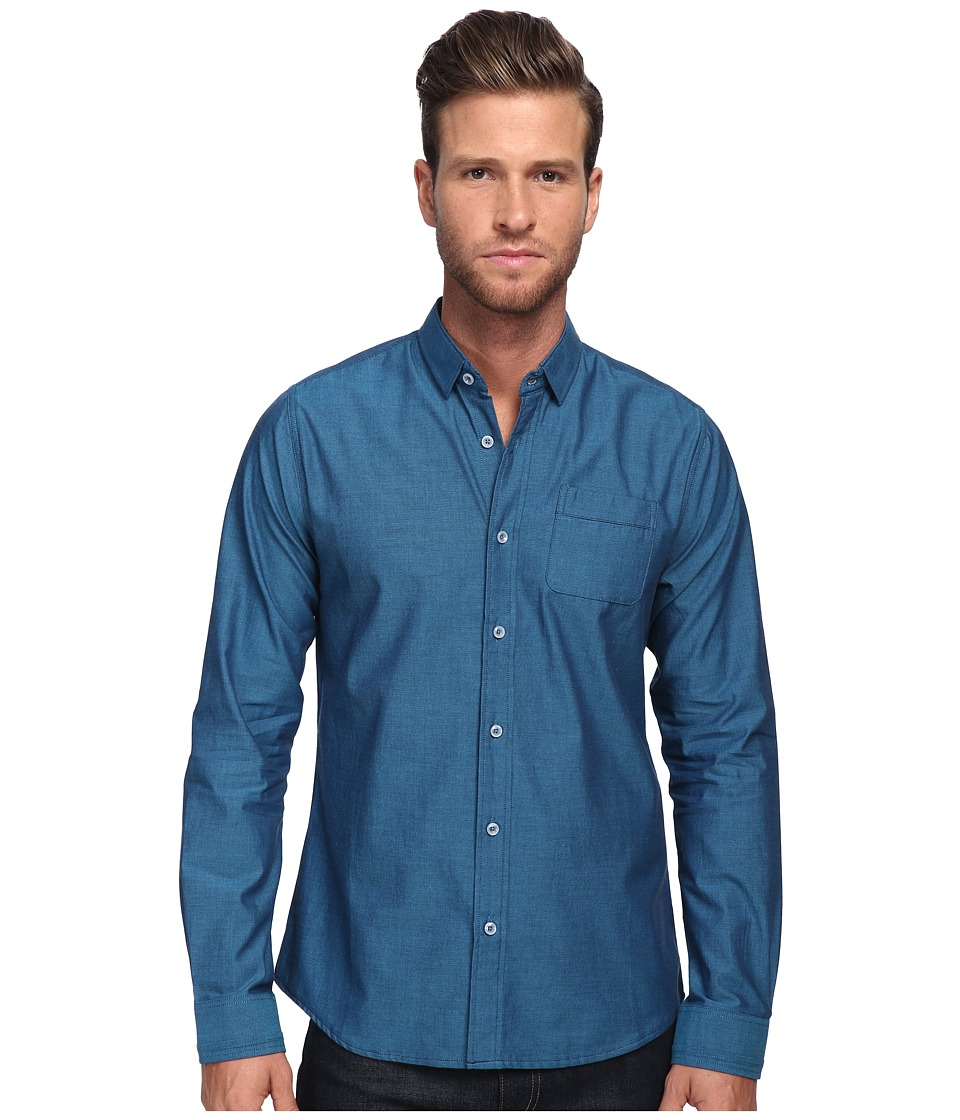 Descendant Of Thieves - Bi-Color Weave L/S Woven (Navy/Teal) Men's Long Sleeve Button Up