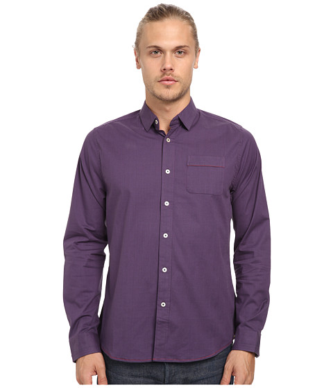 Descendant Of Thieves - Screen Check Print Shirt (Shadow Plum) Men's Long Sleeve Button Up