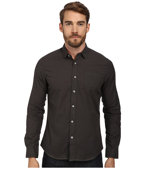 Descendant Of Thieves - Micro Houndstooth (Black/Grey) Men's Long Sleeve Button Up
