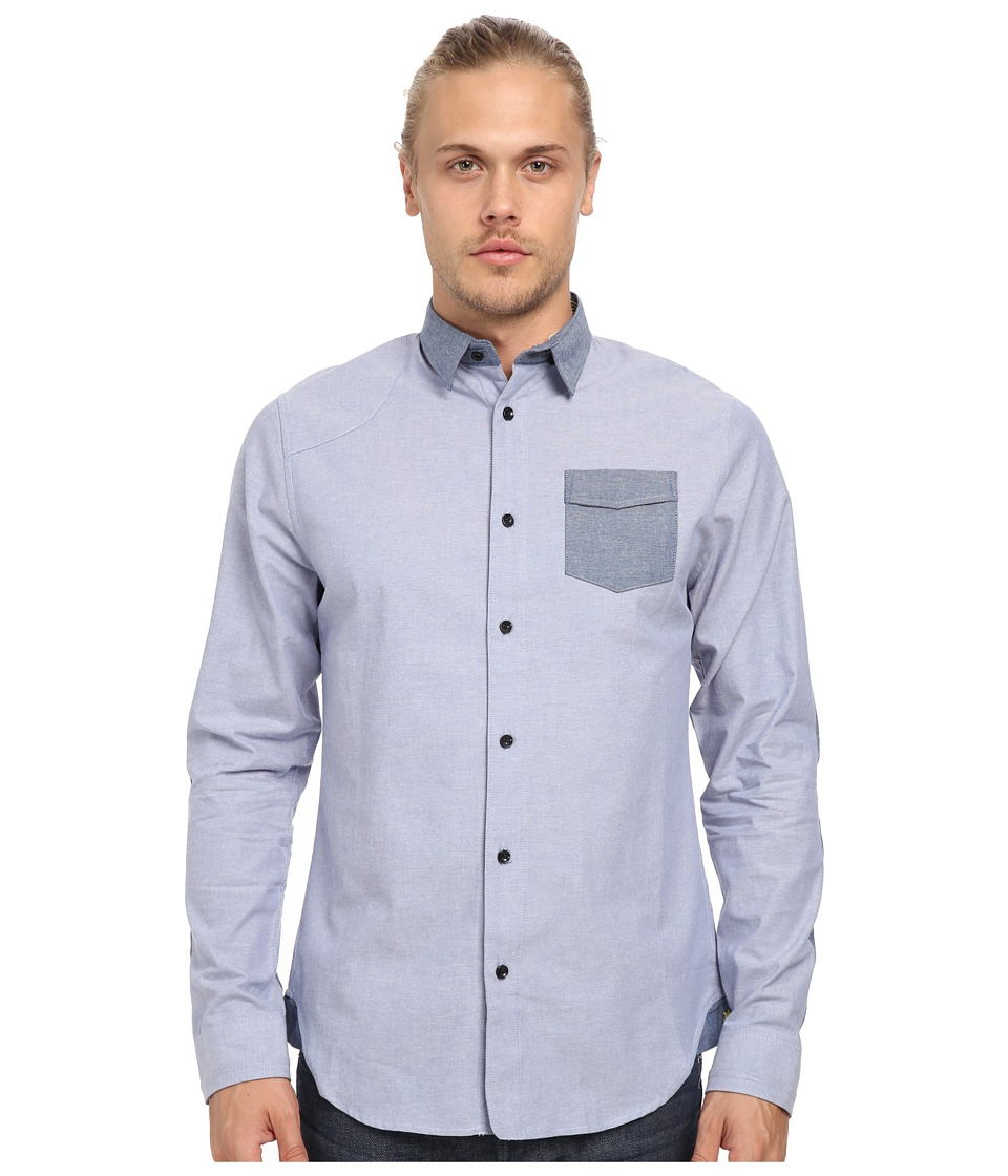 Descendant Of Thieves - Bi-Color Oxford Shirt (Light Blue) Men's Long Sleeve Button Up