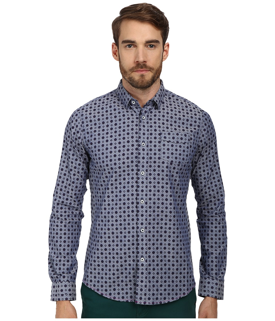 Descendant Of Thieves - Royal Wall Print (Grey Blue) Men's Long Sleeve Button Up