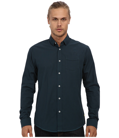 Descendant Of Thieves - Concealed Tonal Check L/S Woven Shirt (Teal Blue) Men's Clothing