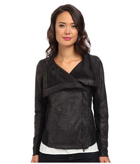 Calvin Klein Jeans - Drape Front Waterfall Jacket (Black) Women's Coat