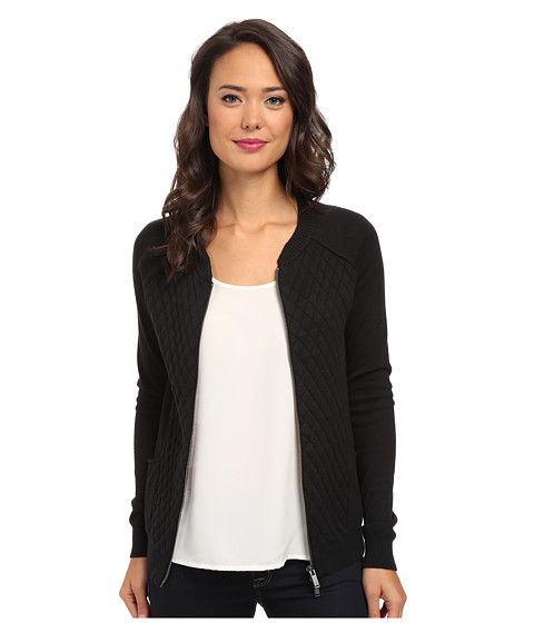Calvin Klein Jeans - Quilted Front Bomber (Black) Women's Sweater