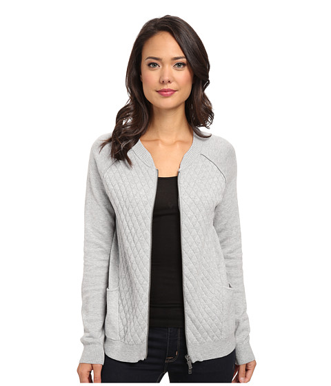 Calvin Klein Jeans - Quilted Front Bomber (Pale Grey Heather) Women's Sweater