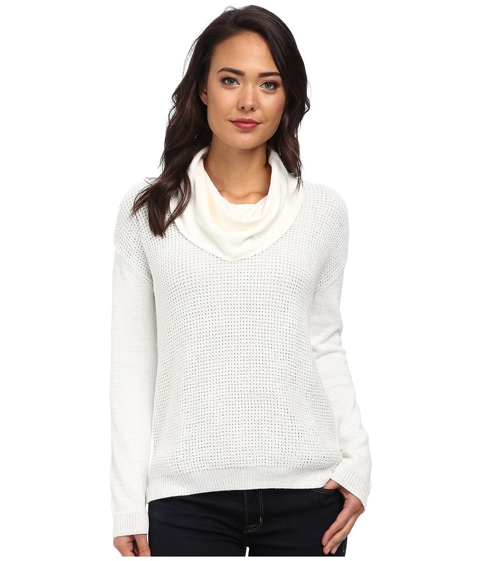 Calvin Klein Jeans - Textured Lurex Cowl Neck (Gardenia) Women's Sweater