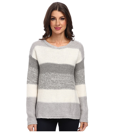 Calvin Klein Jeans - Textured Colorblocked Crew Neck (Gardenia) Women's Sweater