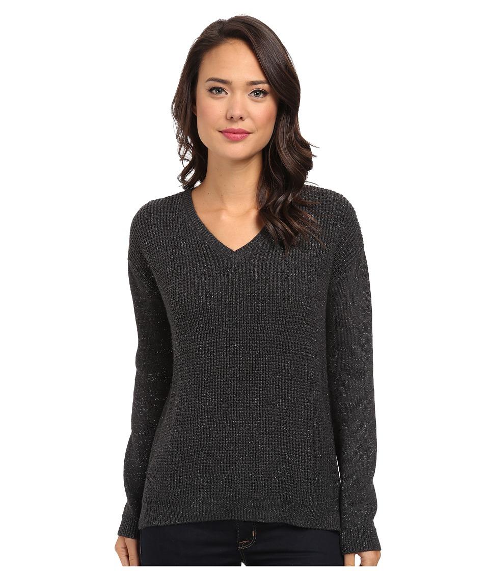 Calvin Klein Jeans - Textured Lurex V-Neck (Dark Charcoal Heather) Women