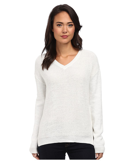 Calvin Klein Jeans - Textured Lurex V-Neck (Gardenia) Women's Sweater