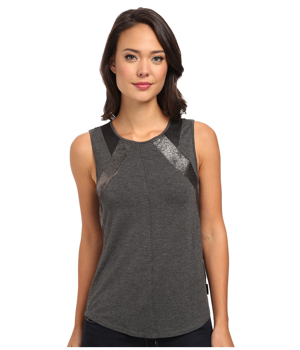 Calvin Klein Jeans - Pieced Crew Neck Tank (Charcoal/Grey Heather) Women