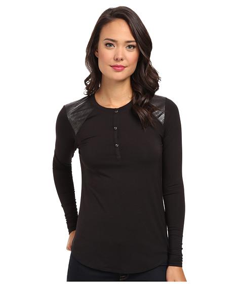 Calvin Klein Jeans - L/S PU Snake Henley (Black) Women's Clothing