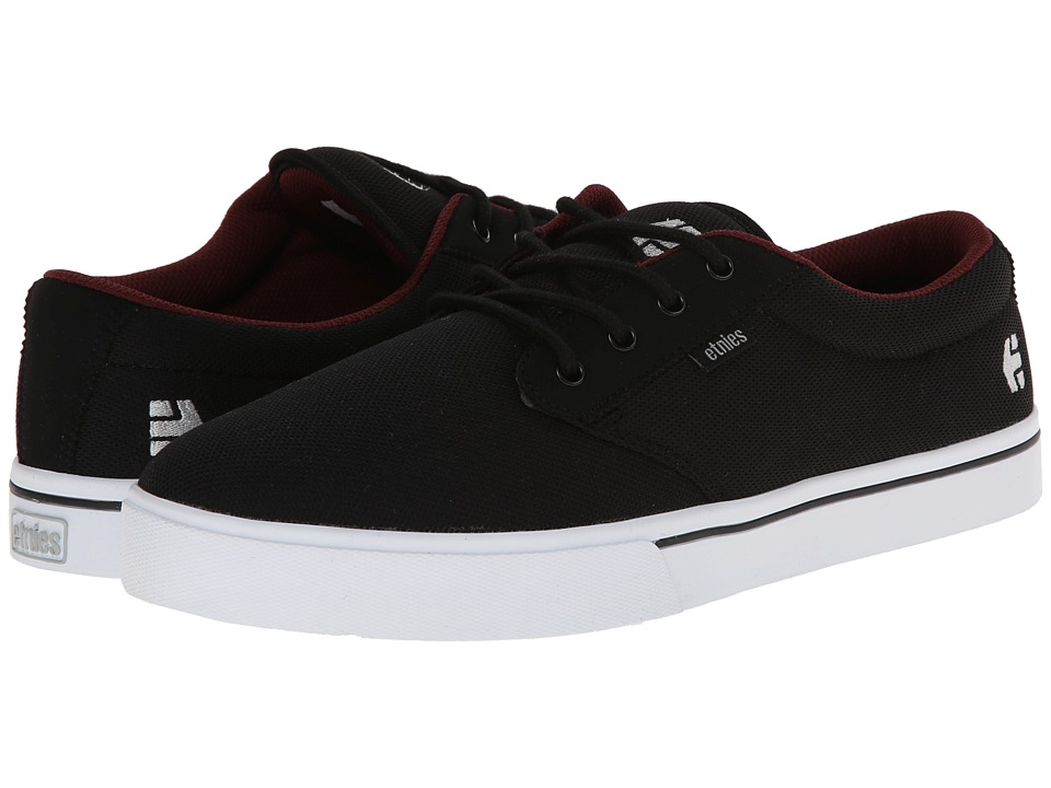 etnies - Jameson 2 Eco (Black/White/Burgundy) Men's Skate Shoes