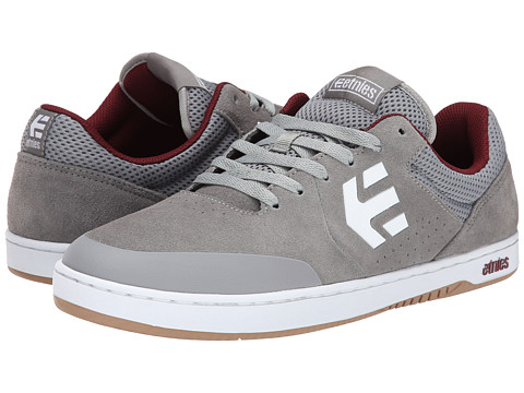 etnies - Marana (Grey/Burgundy) Men's Skate Shoes