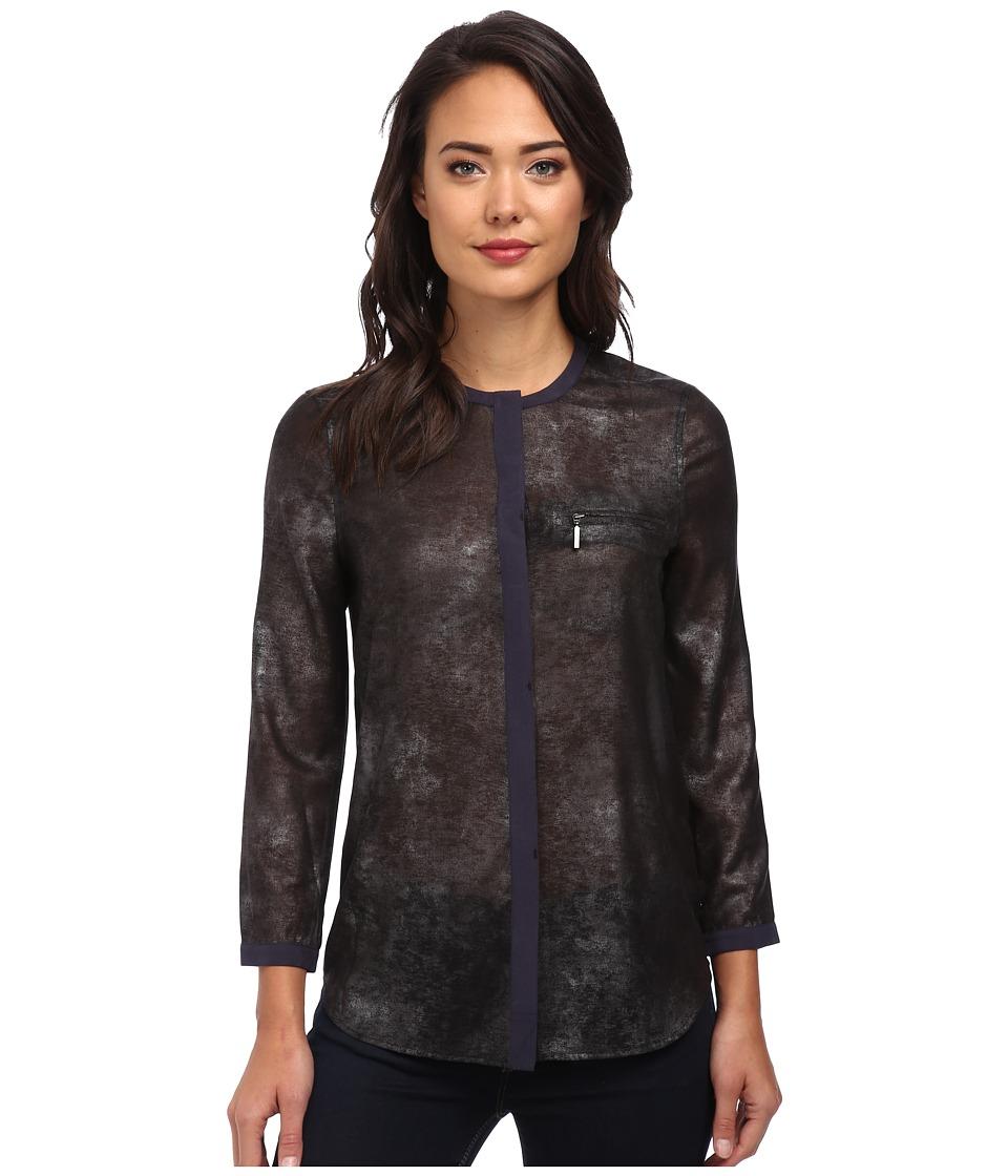 Calvin Klein Jeans - Foil Print Zip Pocket Blouse (Black) Women's Blouse