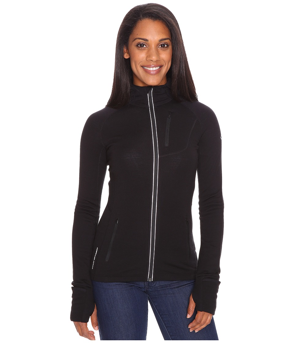Icebreaker - Quantum Long Sleeve Zip Hood (Black) Women's Long Sleeve Pullover