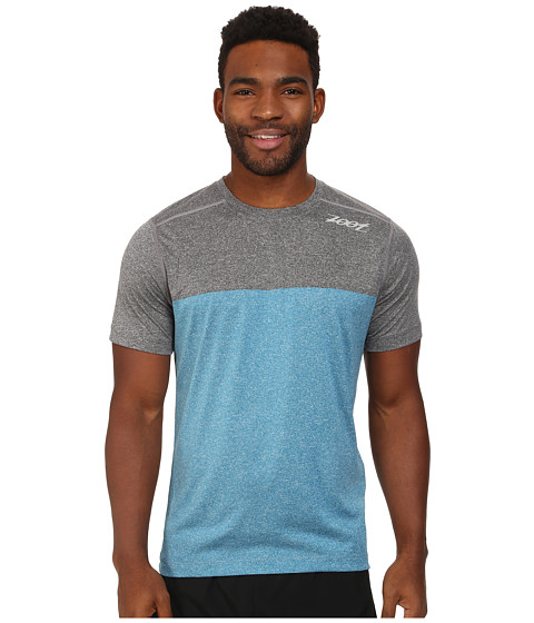 Zoot Sports - Run Surfside Split Tee (Black Heather/Blutonium Heather) Men's T Shirt