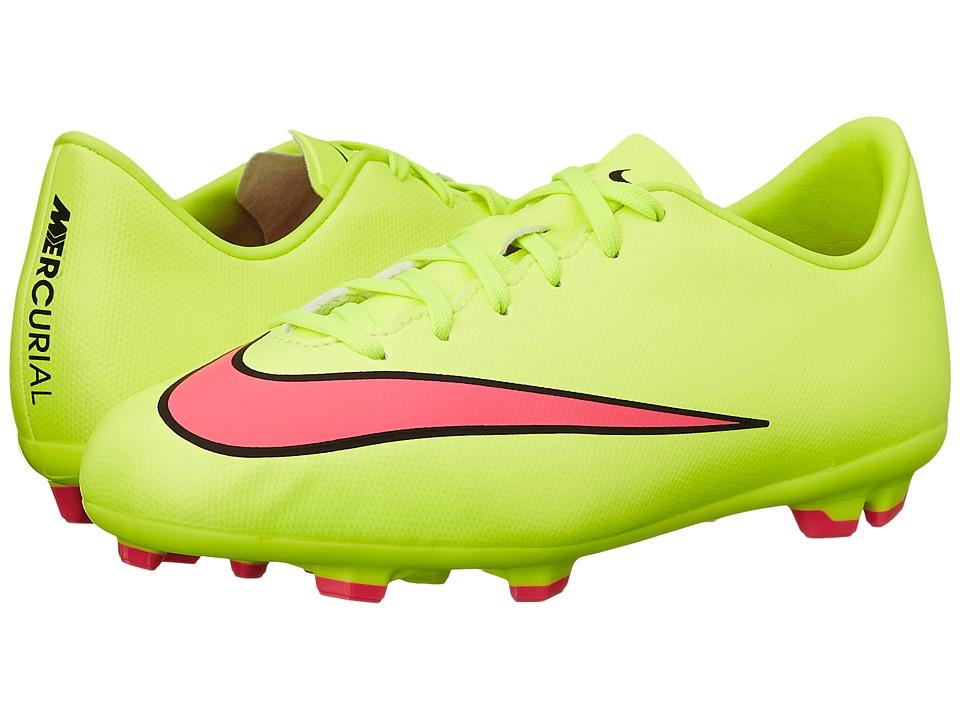 Nike Kids - Jr Mercurial Victory Firm Ground Soccer (Toddler/Little Kid/Big Kid) (Volt/Black/Hyper Pink) Kids Shoes