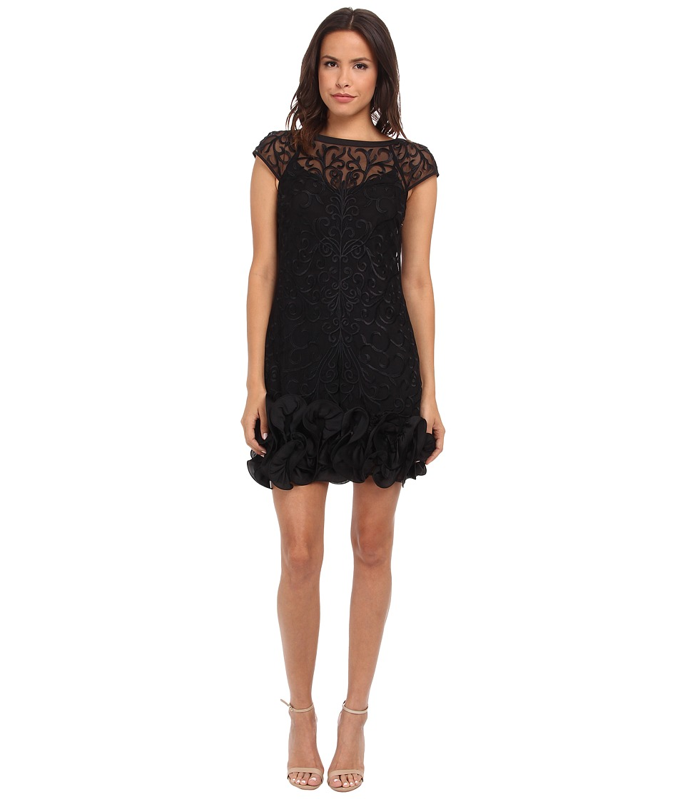Jessica Simpson - Short Tiered Sleeve Dress with Ruffle at Hem (Black) Women's Dress
