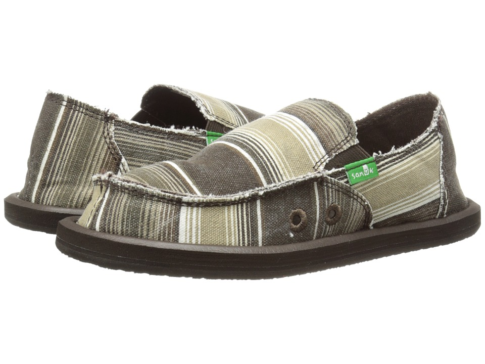 Sanuk Kids - Donny (Little Kid/Big Kid) (Brown Poncho Stripes) Boys Shoes