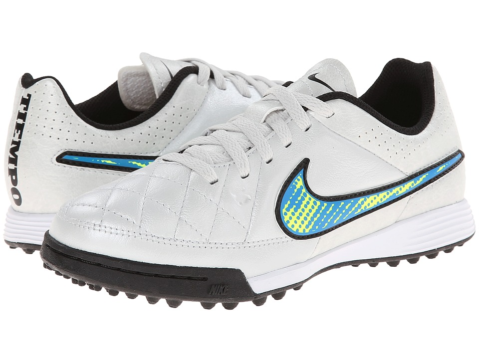 Nike Kids - Jr Tiempo Genio Leather TF Soccer (Toddler/Little Kid/Big Kid) (White/Soar/Volt) Kids Shoes