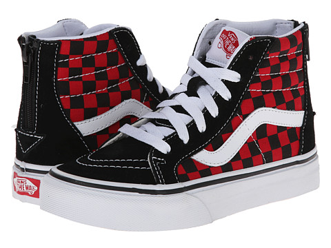 Vans Kids - Sk8-Hi Zip (Little Kid/Big Kid) ((Checkerboard) Black/Formula One) Boys Shoes