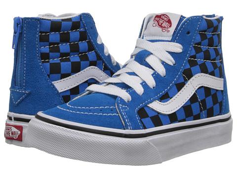 Vans Kids - Sk8-Hi Zip (Little Kid/Big Kid) ((Checkerboard) Brilliant Blue/Black) Boys Shoes
