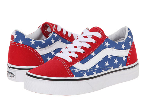 Vans Kids - Old Skool (Little Kid/Big Kid) ((Stars & Stripes) Red/Blue) Kid's Shoes