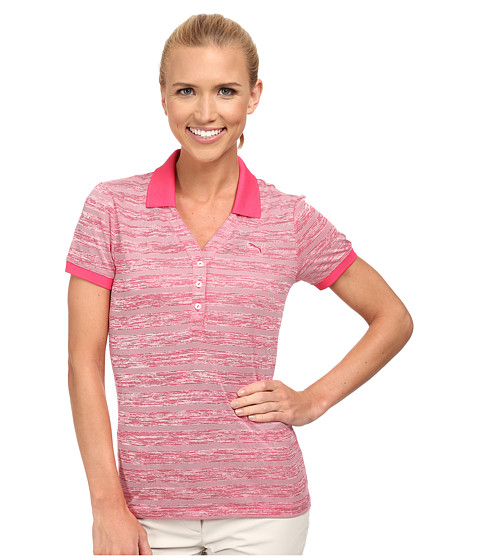 PUMA Golf - Multi Stripe Polo (Raspberry/White) Women's Short Sleeve Knit