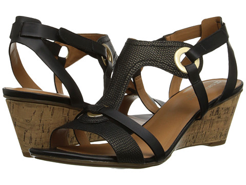 Naturalizer - Heston (Black Printed Lizard/Smooth) Women's Wedge Shoes