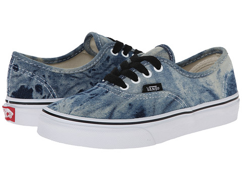 Vans Kids - Authentic (Little Kid/Big Kid) ((Acid Denim) Black/True White) Kids Shoes